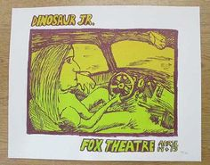 Original silkscreen concert poster for Dinosaur Jr at The Fox Theatre in Boulder, CO in 20 x 16 inches. Numbered out of only Hipster Decor, Dinosaur Jr, Concert Posters, Rock Music, Rock N Roll, Theatre, Fox, Rock Roll, Theater