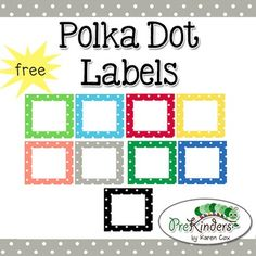 A set of free printable polka dot labels for your classroom. Labels come in 10 colors plus a set of bold black dots. Small commercial use on TPT okay -- please read my Terms of Use!Note: This is a Zip file containing all of the individual labels as images (graphics), so you can upload them into your own program yourself (MS Word, MS PowerPoint, Mac Pages, etc.) You will be able to add clipart or text to the labels in your word processing program or an image editing program, such as Photoshop...