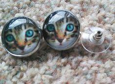 Blue eyed tabby cat earrings £3.50
