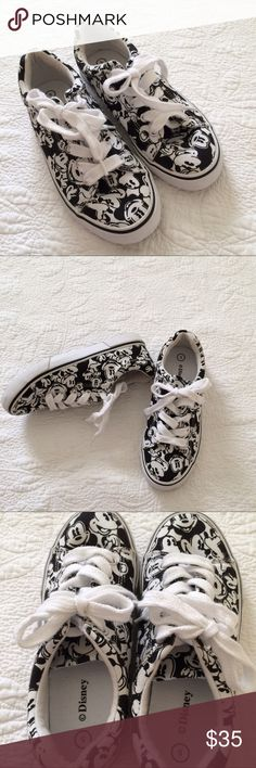 Disney Black White Mickey Mouse Sneakers Take this on your next Disney vacation! Lace up Mickey sneakers. Disney Shoes Sneakers