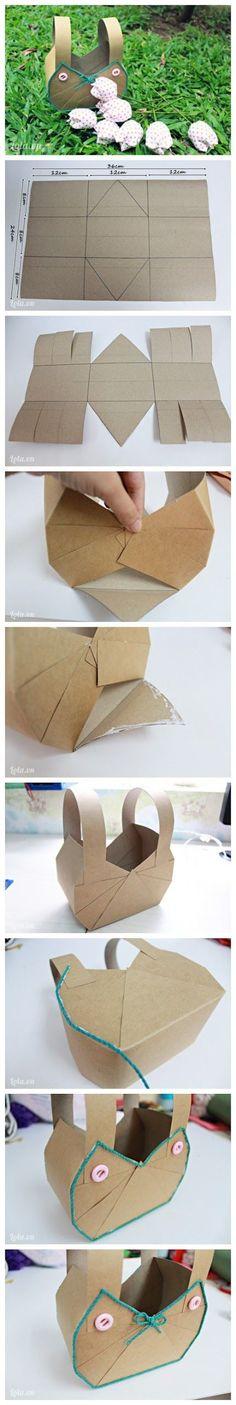 diy, diy projects, diy craft, handmade, diy easy paper basket - Folkvox - Presume lo que a ti te gusta - Paper Basket Diy, Diy Projects To Try, Craft Projects, Diy And Crafts, Crafts For Kids, Diy Ostern, Diy Papier, Ideias Diy, How To Make Paper