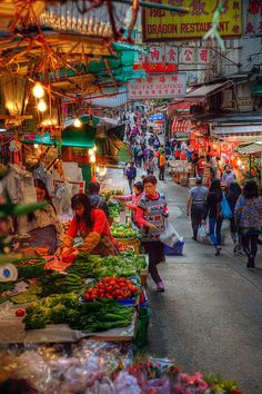 Hong Kong Street Market by on deviantART 香港 Places To Travel, Places To See, Places Around The World, Around The Worlds, Beautiful World, Beautiful Places, Vietnam, Thinking Day, In China