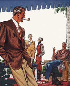 America's Finest Casual Clothes - detail from 1947 Jackman Custom ad.