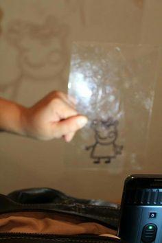 4. Y se pone la lámina de acetato ya con el dibujo marcado delante de una làmpara y vemos como la sombra se traspasa a la pared, allì lo podemos hacer del tamaño que queramos, podemos pasarla a cartòn, cartulina, etc. Ideas, Homemade Projector, Card Stock, Shades, Drawings, Manualidades, Thoughts