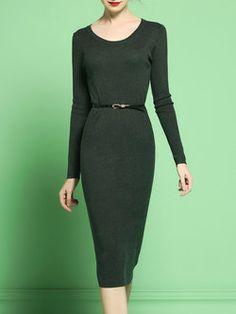 Dark Green Knitted Bodycon Long Sleeve Midi Dress