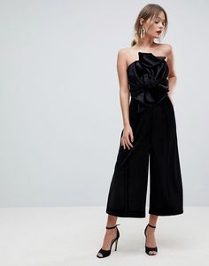 ASOS Jumpsuit with Knot and Drape Detail in Velvet - Black