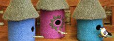 Felted bird houses