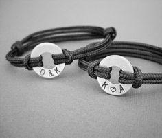 Couples matching stamped bracelets 2 Bracelets por InformalElegance