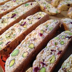 "Cranberry Pistachio Biscotti | ""The red and green make a great Christmas cookie. Have used other nuts instead of pistachios with success. If your pistachios are salted, omit the 1/4 teaspoon salt from the recipe."""