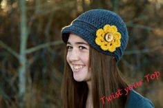 Crochet Urban Page Boy with Flower by Twistyourtop on Etsy, $29.00