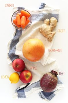 1 large (or 2 small) grapefruit, peeled and quartered 2 large sweet apples, roughly quartered, stems removed 2 carrots (or 10 baby carrots) 1 small beet, greens removed, roughly chopped 1 small knob ginger, peeled (scant 1/4 cup chopped) 1 small lemon, juiced ~1/2 cup filtered water