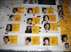 class reunion ideas   Name tags created from high school senior pictures.