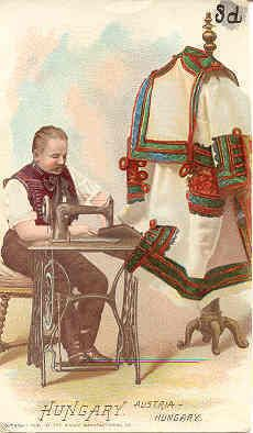 Victorian Trade Card Singer Sewing Machine Costumes of All Nations Hungary Vintage Advertisements, Vintage Ads, Vintage Posters, Vintage Style, Images Vintage, Sewing Cards, Antique Sewing Machines, Fancy Costumes, Illustrations