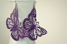 Large Purple Butterfly Painted Metal Boho Earrings by HazelAndCompany