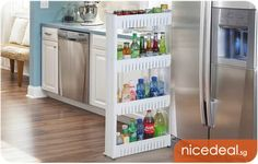 $19.80 for 4-Tier Multipurpose Wheel Rack Slim Design Fits in Tight Spaces, Great Kitchen Storage! | Singapore Group Buying - NiceDeal.SG nice way to save - Great Deals Daily!