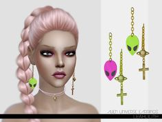 The Sims Resource: Alien Universe Earrings by  LeahLillith • Sims 4 Downloads