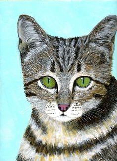 Acrylic Cat Painting