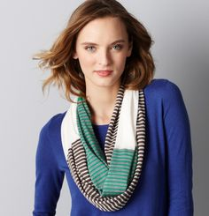 stripe combo-infinity scarf