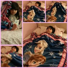 Style M. Collection Frozen Blanket.  No Sew. One happy little customer.  Www.stylemcollection Com Www.facebook.com/stylemcollection.com Www.instagram.com/mindymez
