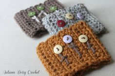 Buttons Buttons Everywhere Coffee Cozy by AutumnBerryCrochet