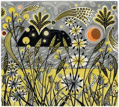Island Celebration - linocut by Angie Lewin - printmaker
