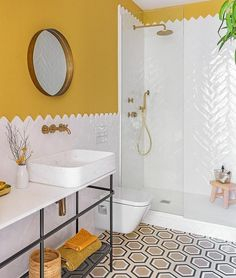 Bathroom decor One of the easiest ideas to elect for is a shower enclosure. Bad Inspiration, Bathroom Inspiration, Bathroom Ideas, Bathroom Vanities, Bathroom Designs, Bathroom Makeovers, Restroom Ideas, Restroom Design, Yellow Bathrooms