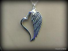 Sterling silver angel wing necklace heart by DesignedByMarilyn £24.42 @ 03.05.15