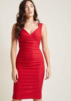 Lady Love Song Sheath Dress in Ruby in 3X - Sleeveless Bodycon Knee Length