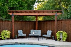 The pergola kits are the easiest and quickest way to build a garden pergola. There are lots of do it yourself pergola kits available to you so that anyone could easily put them together to construct a new structure at their backyard. Pergola D'angle, Corner Pergola, Small Pergola, Deck With Pergola, Pergola Lighting, Cheap Pergola, Wooden Pergola, Covered Pergola, Pergola Shade
