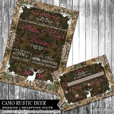 Rustic Camo Wedding Invitation Suite - Deer, Wood, Fall, Hunter- Digital Invitation, RSVP card - reception Only Card
