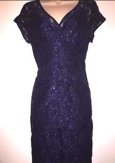 Scarlett Nite Tiers Of Lace Sequined Surplice  Dress Midnight Blue Size 8  | eBay