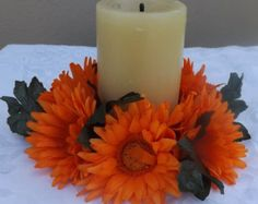 "Gerberas daisy Candle ring 6"" for wedding decoration"