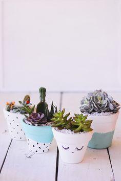 DIY: Vaso de barro decorado para suculentas, vaso, plantas, artesanato, pintura, faça você mesmo