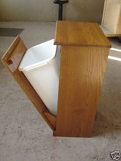 New Solid Oak Wood Kitchen Garbage Bin or Recycling / Trash Can / Storage Bin   eBay