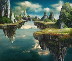 Floating Island 53 ideas of landscape concept art – LANDSCPİNG Fantasy City, Fantasy Castle, Fantasy Island, Fantasy Places, Fantasy Kunst, Fantasy World Map, Landscape Concept, Fantasy Landscape, Landscape Art