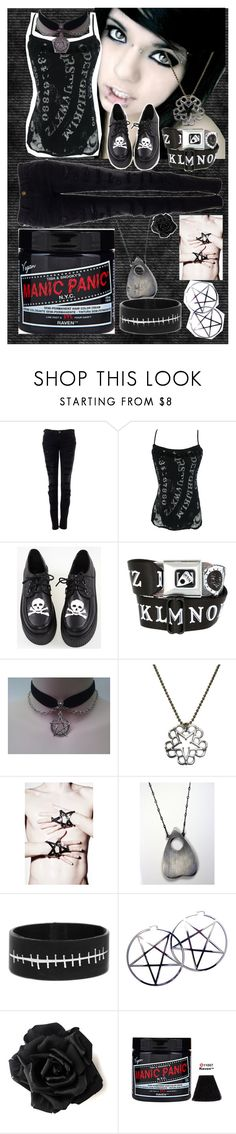 """Ouija board princess"" by grimm-618 ❤ liked on Polyvore featuring Current/Elliott, Kill Star and Manic Panic NYC"