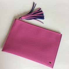 """Deux Lux Faux Leather pouch Super cute Deux Lux pebbled faux leather pouch. Pink with blue interior. Tassel pull zip closure. 11 3/4"""" x 8"""". NWT, never used.   #110 Deux Lux Bags Clutches & Wristlets"""