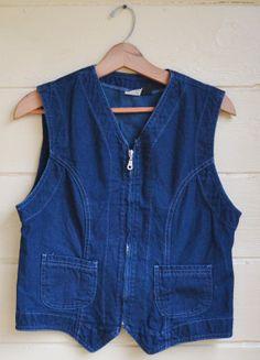 Vintage Womens Lee Denim Vest Dark Blue Denim by founditinatlanta, $24.00