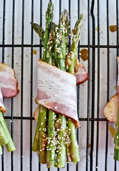 Bacon Wrapped Caramelized Sesame Asparagus | How Sweet It Is
