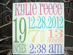 PERSONALIZED shabby chic vintage  BIRTH Facts Subway Art - Birth Announcement, Baby Girl, Boy, via Etsy
