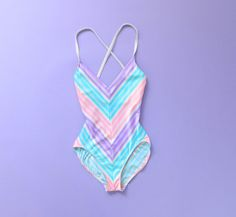 RESERVED Vintage Swimsuit Pastel Stripes One Piece Small