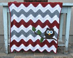 Owl Baby Blanket Boy Baby Shower Gift Navy and Gray by abbycove