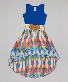 Look at this #zulilyfind! Royal Hi-Low Belted Dress - Girls by Maya Fashion #zulilyfinds