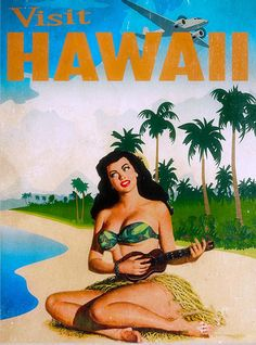 Vintage Travel Hawaii Poster by Cinema Photography. All posters are professionally printed, packaged, and shipped within 3 - 4 business days. Choose from multiple sizes and hundreds of frame and mat options. Hawaiian Girls, Hawaiian Art, Vintage Hawaiian, Pulp Fiction, Vintage Tiki, Tiki Art, States In America, United States, Advertising Poster