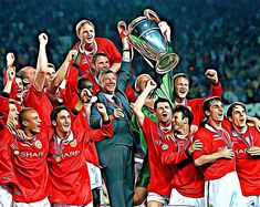 Manchester United 1999 Champions Of Europe Print FIFA 20 style Neymar, Messi, Steven Gerrard, Zinedine Zidane, Ac Milan, Chelsea Fc, Tottenham Hotspur, Liverpool Fc, Ronaldo
