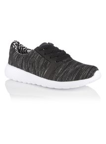 Black Marl Lace Trainers