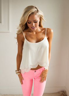 Online boutique. Best outfits. Beautifully Scalloped Tank - Modern Vintage Boutique