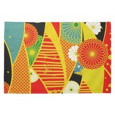Vintage Traditional Red Black floral Japanese Art Hand Towels