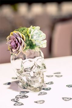clear glass skull flower vase - brides of adelaide