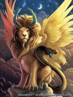 Un lion très puissant avec son coéquipier le cobra.